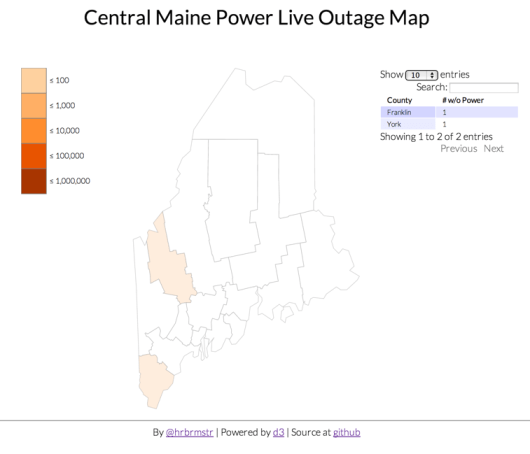 One More Time Mapping Maine Power Outages With D3 Rud Is