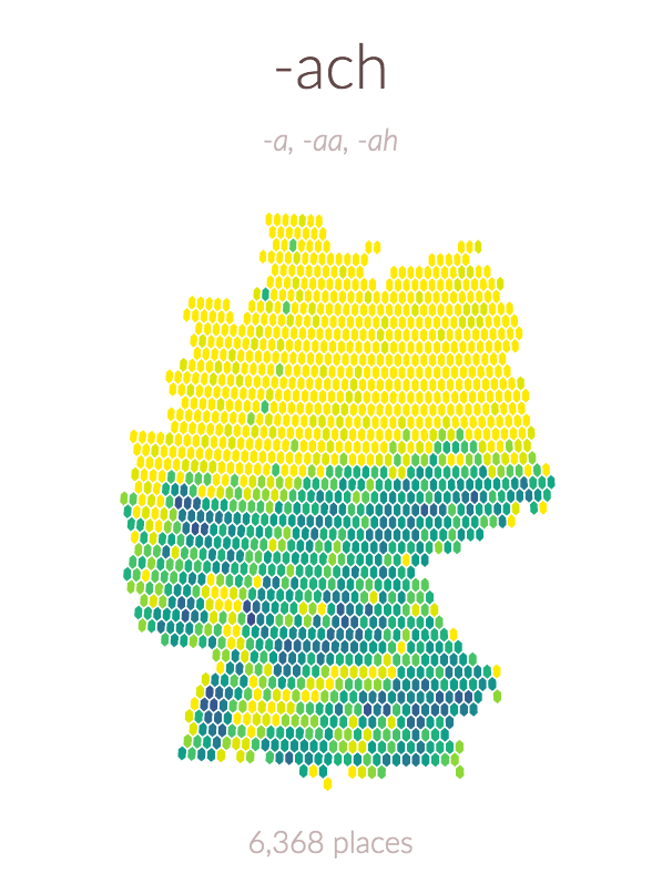 Zellingenach: A visual exploration of the spatial patterns in the endings of German town and village names in R