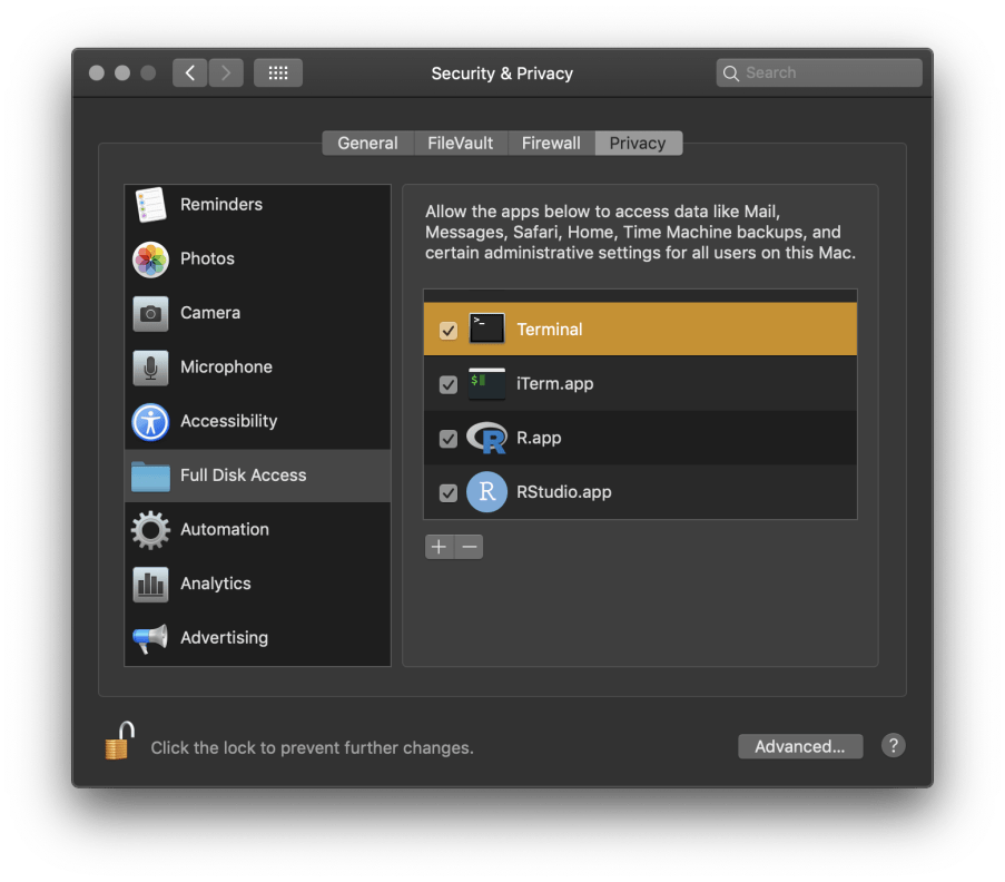 Escaping the macOS 10 14 (Mojave) Filesystem Sandbox with R