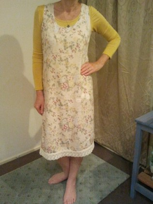 RUDE Girl in old rayon frock from clothes swap