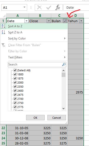 Sort Menggunakan Filter