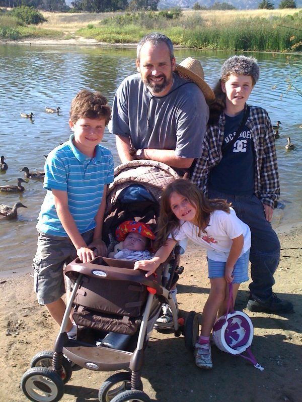 Feeding ducks on Father's Day