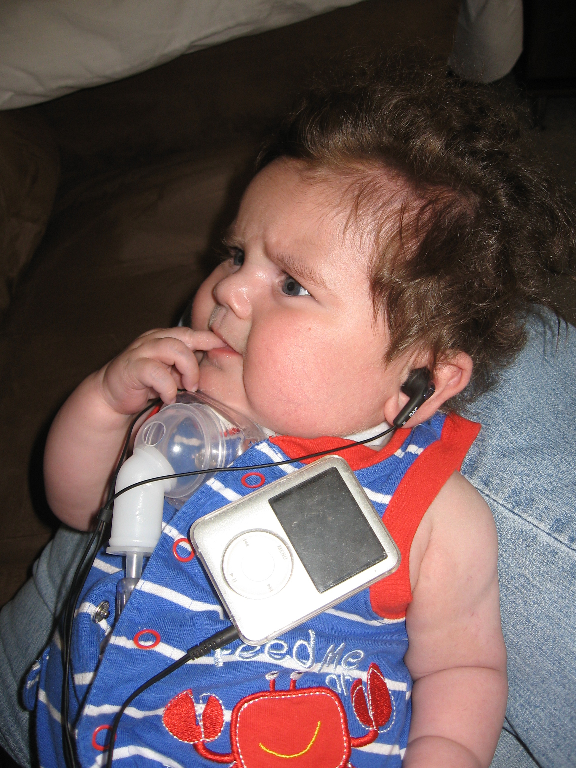 Listening to Max's Ipod