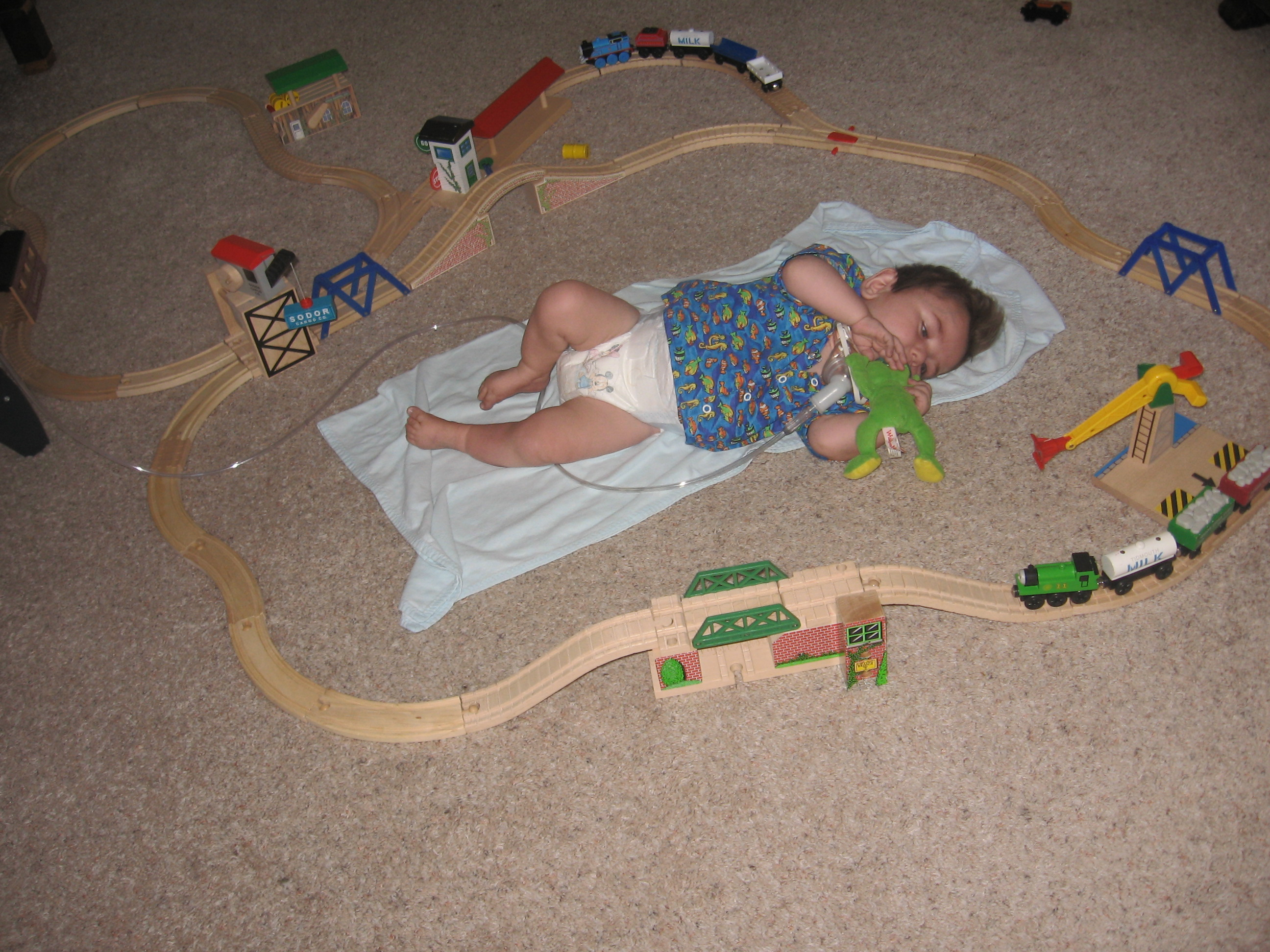 Labor Day:  The big kids decided to introduce Rudy to the Thomas train set and, as you can see, built their track around him.  I think Rudy liked being included! :-)