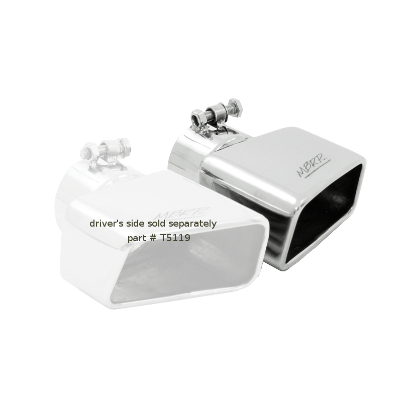 mbrp exhaust tip 4 3 4 inch x 3 inch id rectangle angled cut 3 inch o d inlet passenger side 7 3 8 inch length t304 stainless steel t5120
