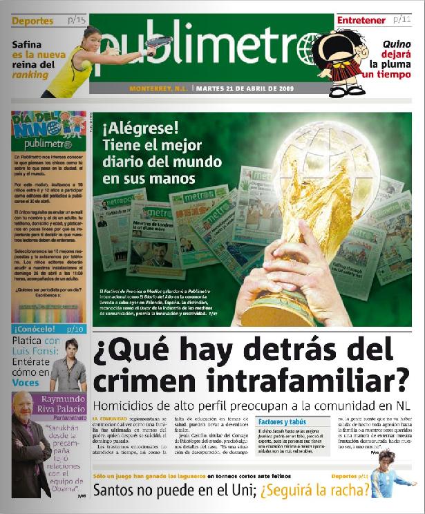 Portada de la edición de Publimetro en Monterrey
