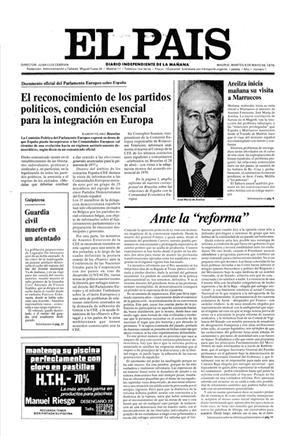 """Portada del primer número de """"El País. (El País.com)"""