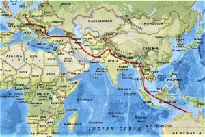 Intended route from Australia to Germany