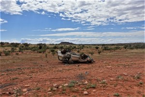 Car wreck in the australian outback
