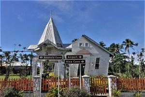 Durch einen Zyklon zerstörte Kirche auf Tonga