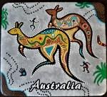 Australischer Bierdeckel mit aufgemalten Kängurus