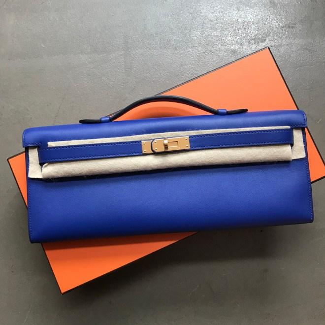 Hermes kelly cut Blue Electric