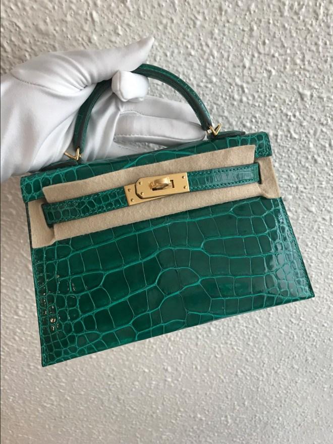 Hermes kelly mini II Emerald GHW