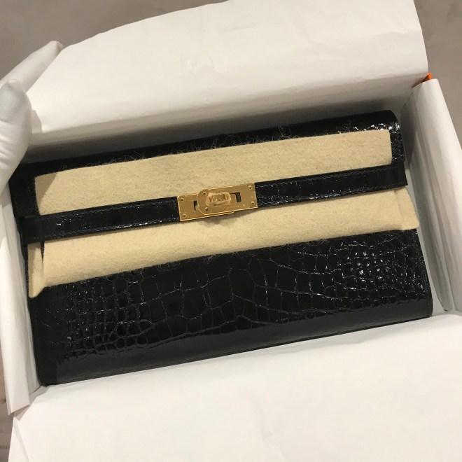 Hermes kelly wallet Black GHW