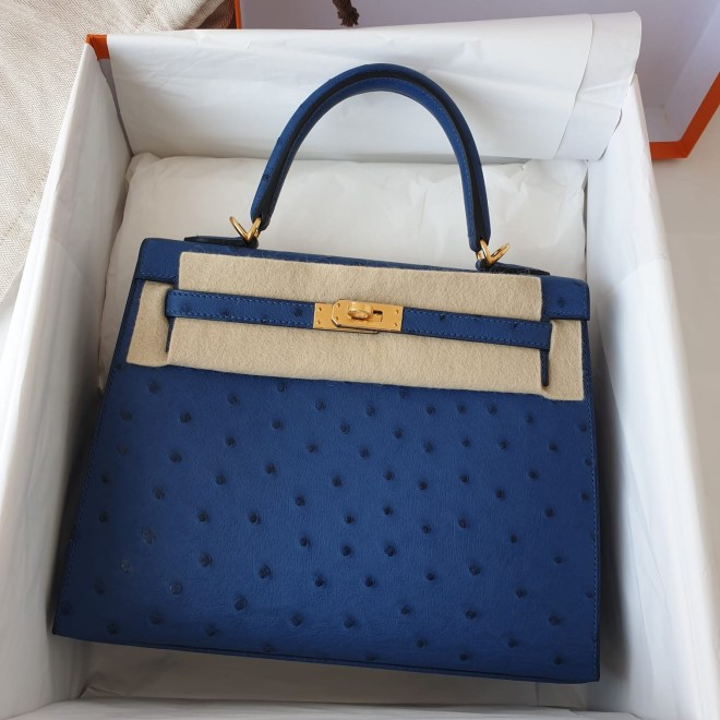 Hermes Kelly 25 Deep Blue Ostrich