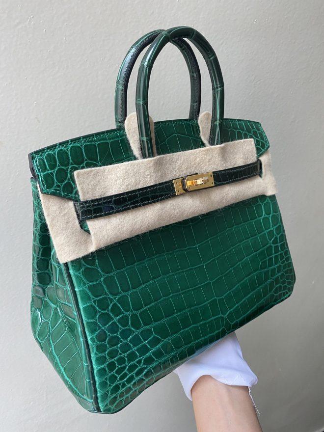 Hermes b25 vert emerald GHW