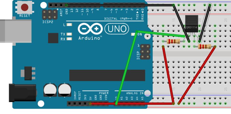 Circuito de un sensor óptico QRD1114