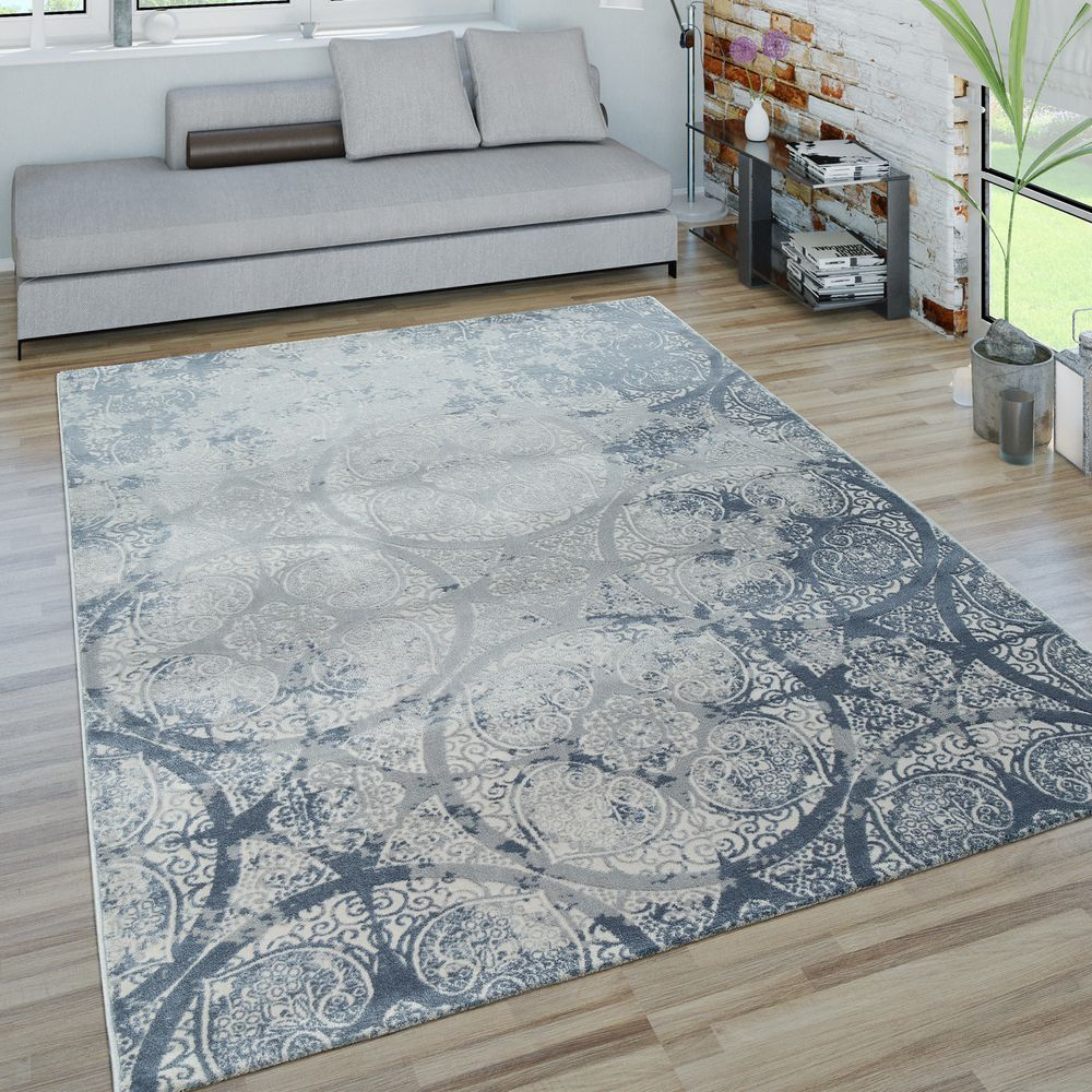 Teppich Blau Grau Short-pile Rug Decorations Blue Grey | Rug24