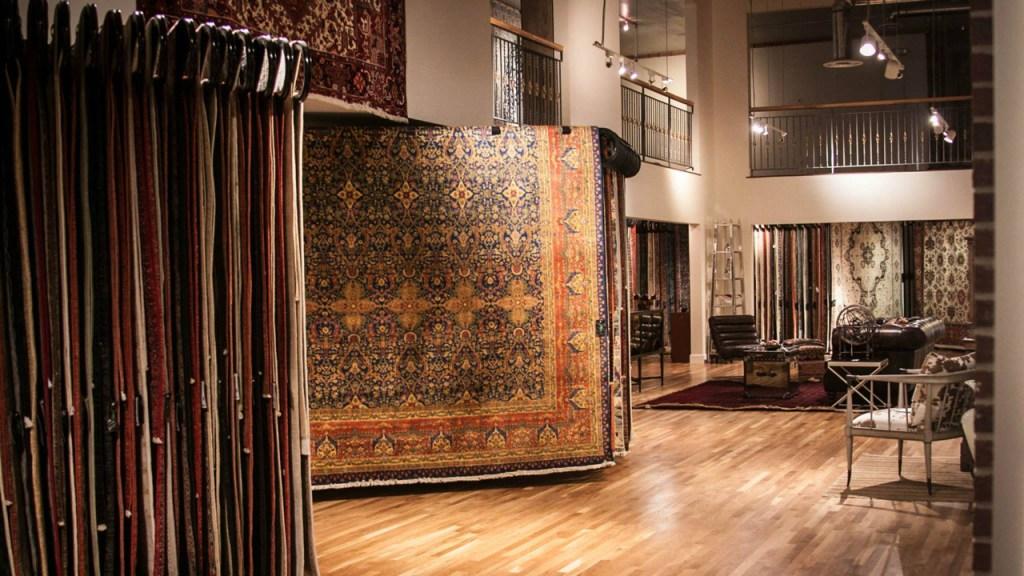 Old Ibraheems 636 S Broadway Denver, CO 80209 Showroom inside showing fine rugs