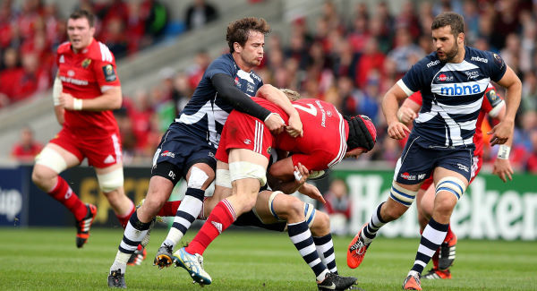 Danny Cipriani and David Seymour Tackle Tommy O'Donnell 18/10/2014
