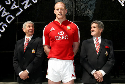 Lions tour coach Ian McGeechan (left) and tour manager Gerald Davies (right) with Lions captain Paul O'Connell during the Lions squad announcement at the Sofitel Hotel, Heathrow Airport, London.