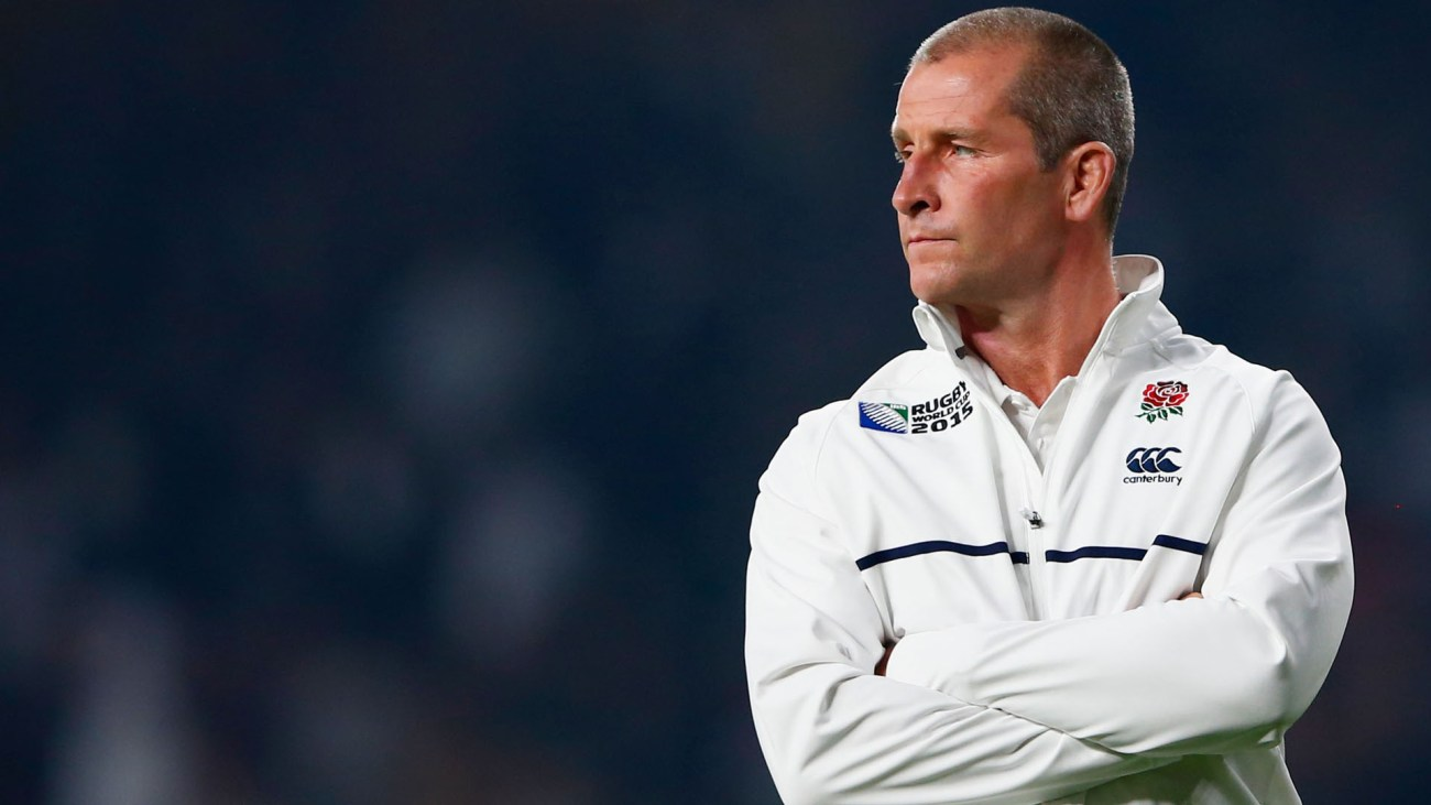 LONDON, ENGLAND - OCTOBER 03:  Stuart Lancaster, Head Coach of England looks on during the 2015 Rugby World Cup Pool A match between England and Australia at Twickenham Stadium on October 3, 2015 in London, United Kingdom.  (Photo by Shaun Botterill/Getty Images)