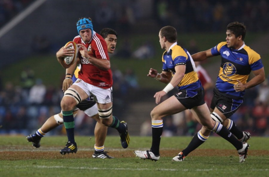 NEWCASTLE, AUSTRALIA - JUNE 11: Justin Tipuric of the Lions charges upfield during the match between Combined Country and the British & Irish Lions at Hunter Stadium on June 11, 2013 in Newcastle, Australia. (Photo by David Rogers/Getty Images)