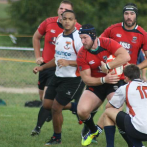 Action photo of men's rugby game
