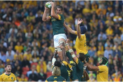 BRISBANE, AUSTRALIA - SEPTEMBER 10: Eben Etzebeth of the Springboks takes the lineout during the Rugby Championship match between the Australian Wallabies and the South Africa Springboks at Suncorp Stadium on September 10, 2016 in Brisbane, Australia. (Photo by Chris Hyde/Getty Images)
