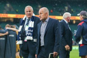Bristol Rugby Chairman Chris Booy and Director of Rugby Andy Robinson look on after a narrow 21-19 loss to Harlequins - Rogan Thomson/JMP - 03/09/2016 - RUGBY UNION - Twickenham Stadium - London, England - Harlequins v Bristol Rugby - Aviva Premiership London Double Header.