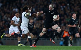 AUCKLAND, NEW ZEALAND - JUNE 07: Brodie Rettalick of the All Blacks is tackeld by Marland Yarde of England during the International Test Match between the New Zealand All Blacks and England at Eden Park on June 7, 2014 in Auckland, New Zealand. (Photo by Simon Watts/Getty Images)