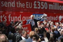 Boris Johnson MP addresses members of the public in Parliament St, York during the Brexit Battle Bus tour of the UK in York, England. Boris Johnson and the Vote Leave campaign are touring the UK in their Brexit Battle Bus. The campaign is hoping to persuade voters to back leaving (Photo by Christopher Furlong/Getty Images)
