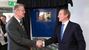 REPRO FREE***PRESS RELEASE NO REPRODUCTION FEE*** Official Opening of World Rugby House, Dublin 13/5/2015 Pictured at today's opening (L-R) Bernard Lapasset, Chairman of World Rugby and An Taoiseach Enda Kenny TD Mandatory Credit ©INPHO/Billy Stickland