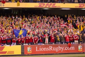 Brittish and Irish Lions supporters during the second test between the DHL Australian Wallabies vs HSBC British And Irish Lions at Etihad Stadium, Melbourne, Victoria, Australia. 29/06/0213. Photo By Lucas Wroe