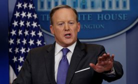 White House spokesman Sean Spicer takes questions during his press briefing at the White House in Washington, DC, U.S. January 30, 2017. REUTERS/Kevin Lamarque