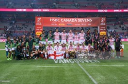 VANCOUVER, CANADA - MARCH 12: England, South Africa, and Fiji pose with their medals after the Cup Final on day 2 of the 2017 Canada Sevens Rugby Tournament on March 12, 2017 in Vancouver, British Columbia, Canada. (Photo by Derek Cain/Getty Images)
