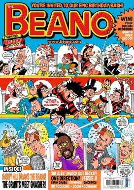 FROM JOHN JEFFAY AT CASCADE NEWS LTD 0161 660 8087 / 07771 957773 john@cascadenews.co.uk Cascade News on behalf of the Sunday Post DAVID Beckham has signed up a shock new agent to find him a new home — Dennis the Menace. The Beano's epic 75th birthday bash features special appearances by David Beckham and several other stars including Andy Murray, Bruce Forsyth and Holly Willoughby. The former Manchester United and Real Madrid ace will appear in a special 75th anniversary issue of the Beano alongside other celebrities such as Harry Hill, Bruce Forsyth, Holly Willoughby and Andy Murray.