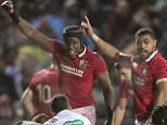 British and Irish Lions player's Maro Itoje, center left, and Taulupe Faletau, center right, appeal for a try against the New Zealand Maori in Rotorua, New Zealand, Saturday, June 17, 2017. (Brett Phibbs/New Zealand Herald via AP)