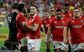 Lions scrum half Conor Murray smiles to the crowd after they defeated the All Blacks 24-21 in the second rugby test between the British and Irish Lions and the All Blacks in Wellington, New Zealand, Saturday, July 1, 2017. (AP Photo/Mark Baker)