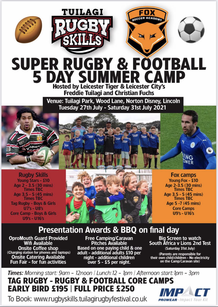 Super Rugby and Football 5 DAY summer CAMP