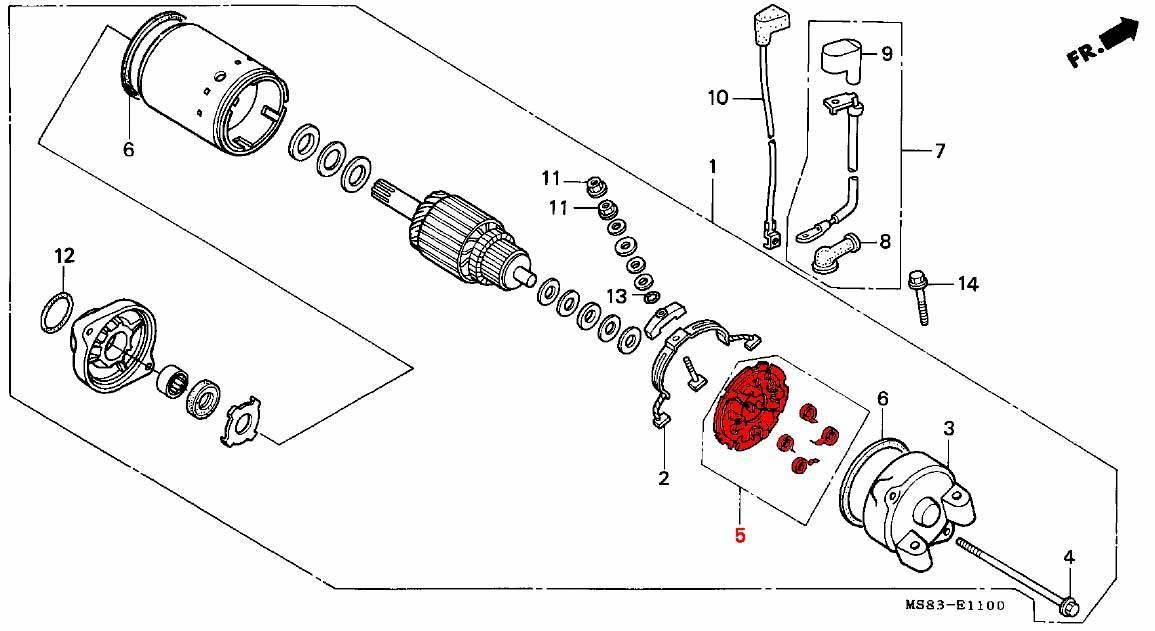 OEM Honda Starter Motor Brush Holder RD03/04/07/07A (1988