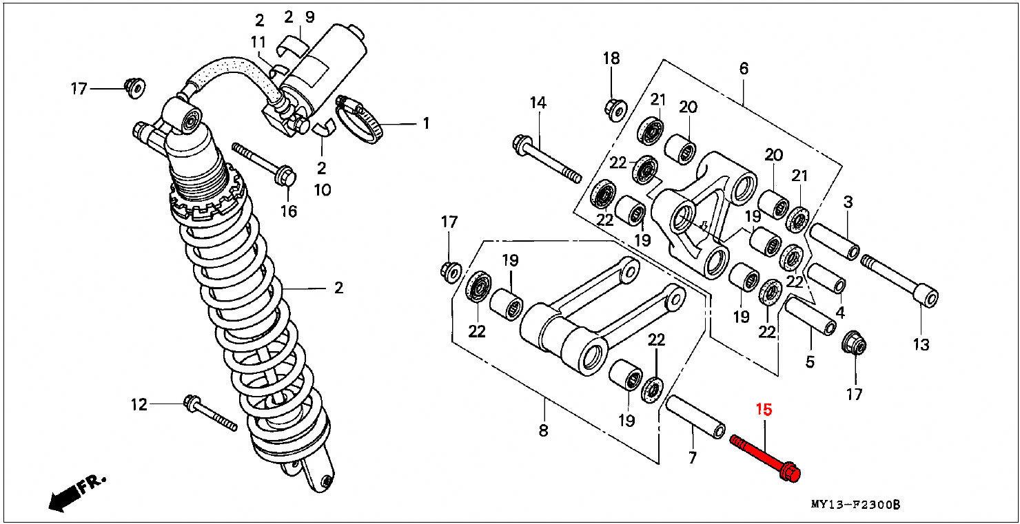 OEM Honda Flange Bolt 10X118 Suspension Connecting Rod