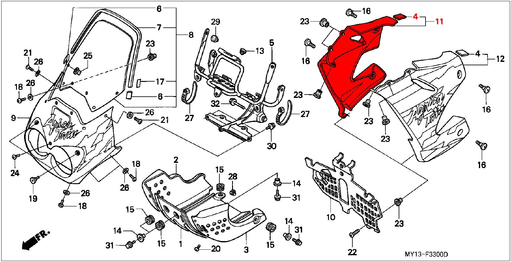Oem Honda R H Front Side Panel Type 11 Pb273 Red