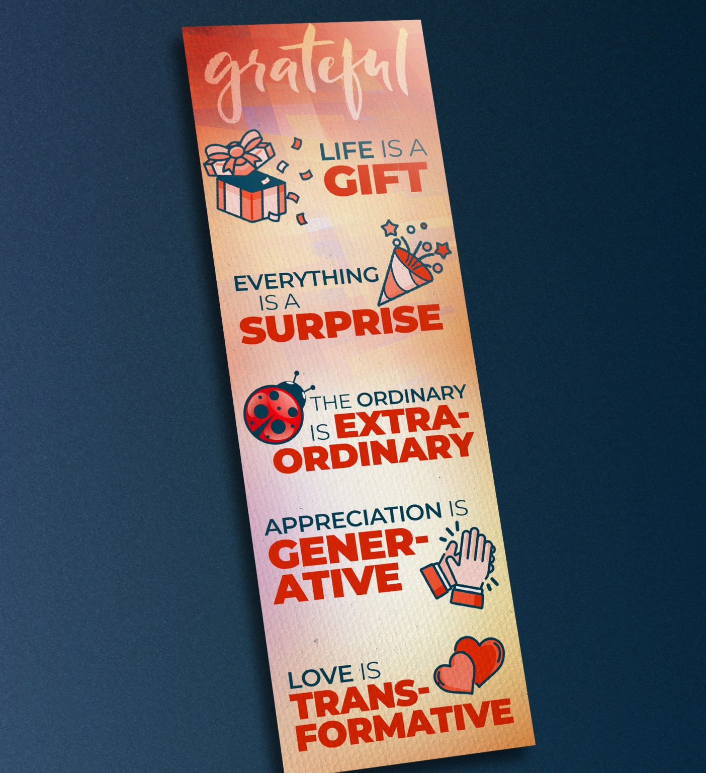 Bookmark featuring the five key principles of gratitude to go along with the presentation