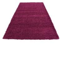 Purple Shaggy Contemporary Rug Soft Warm Modern Plain ...
