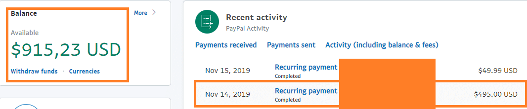Screen shot for paypal payment