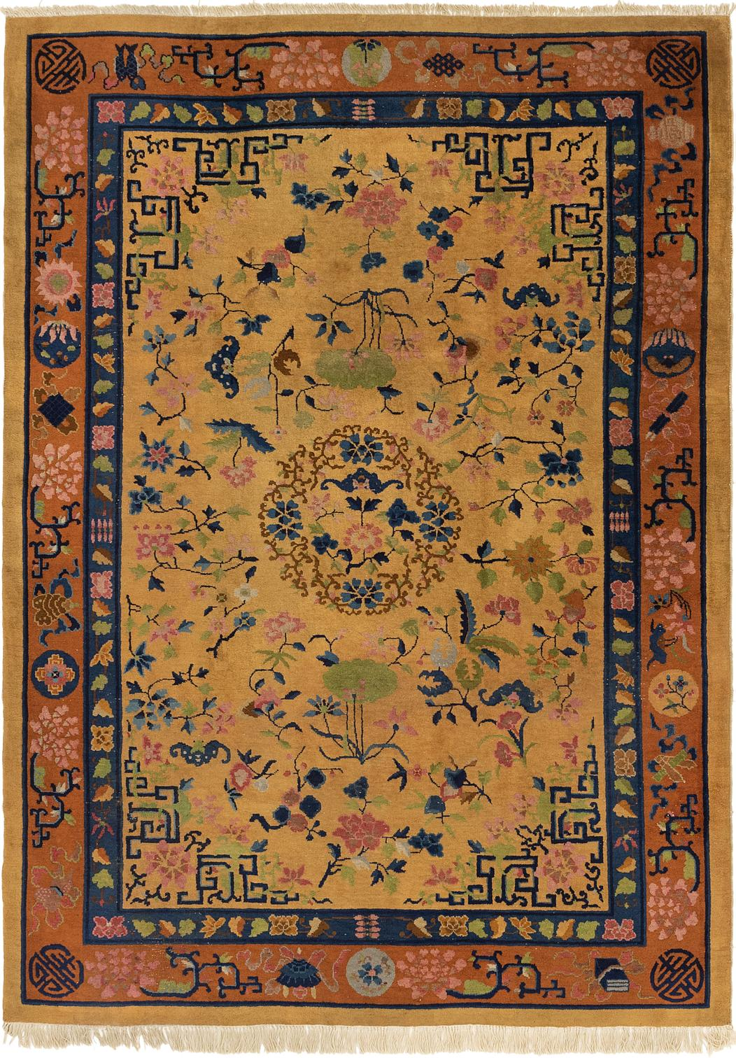 Gold 7 X 9 9 Antique Finish Rug Oriental Rugs