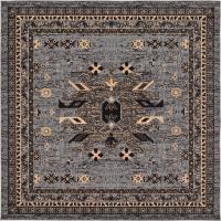 Gray 8' x 8' Heriz Design Square Rug | Area Rugs | Rugs.ca