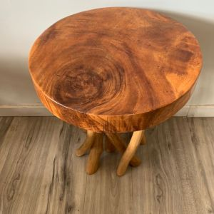 IN 01 Rustic Handmade Tree Branches Twig Side Table Natural