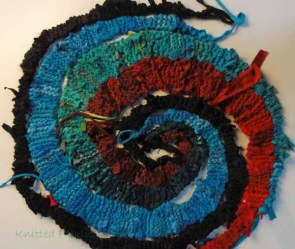 An in-process spiral, showing how the strips go together.